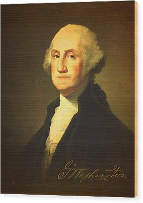 President George Washington Portrait And Signature Wood Print by Design Turnpike