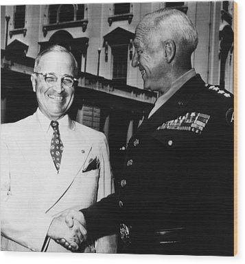 President Harry Truman, Shaking Hands Wood Print by Everett