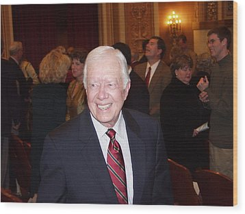 Wood Print featuring the photograph President Jimmy Carter - Nobel Peace Prize Celebration by Jerry Battle