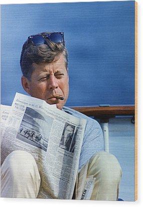 President John Kennedy Smoking A Cigar Wood Print by Everett