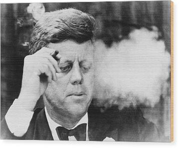 President John Kennedy, Smoking A Small Wood Print by Everett