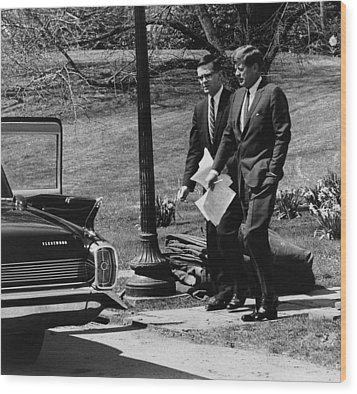 President Kennedy With Theodore Wood Print by Everett