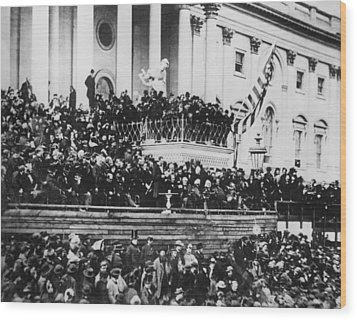 President Lincoln Gives His Second Inaugural Address - March 4 1865 Wood Print by International  Images