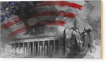 Wood Print featuring the painting President Lincoln  by Gull G