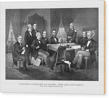 President Lincoln His Cabinet And General Scott Wood Print by War Is Hell Store
