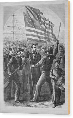President Lincoln Holding The American Flag Wood Print by War Is Hell Store