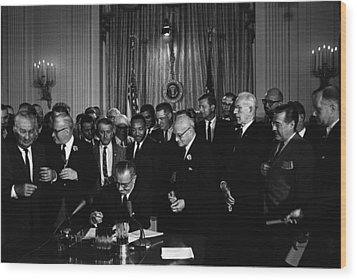 President Lyndon Johnson, Watched Wood Print by Everett