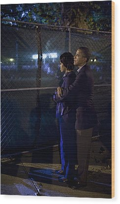 President Obama Embraces Michelle Wood Print by Everett