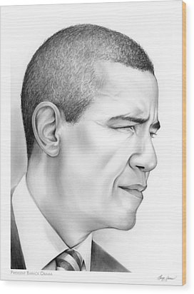 President Obama Wood Print by Greg Joens