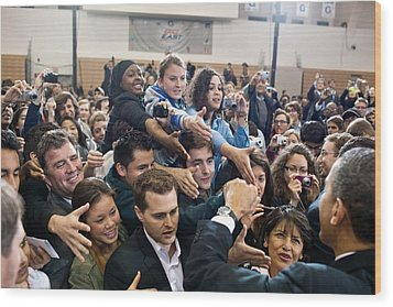 President Obama Shakes Hands Following Wood Print by Everett