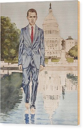 President Obama Walking On Water Wood Print by Andrew Bowers
