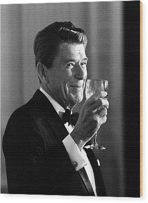 President Reagan Making A Toast Wood Print