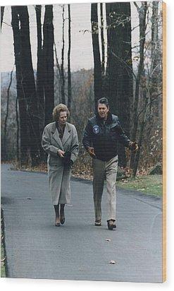 President Reagan Walking Wood Print by Everett