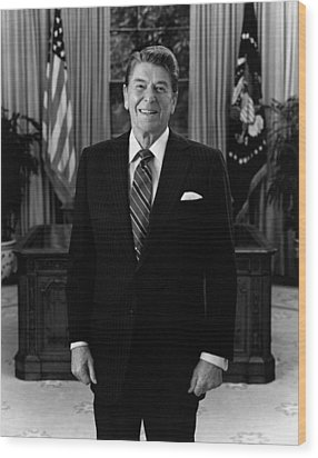 President Ronald Reagan In The Oval Office Wood Print by War Is Hell Store