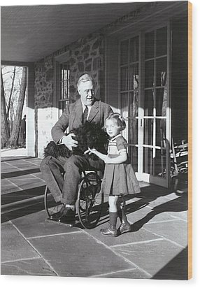 President Roosevelt In His Wheelchair Wood Print by Everett