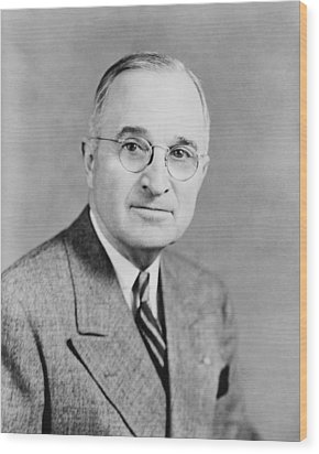President Truman Wood Print by War Is Hell Store