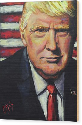 President Trump Wood Print by Carole Foret