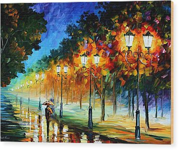 Prespective Of The Night Wood Print by Leonid Afremov