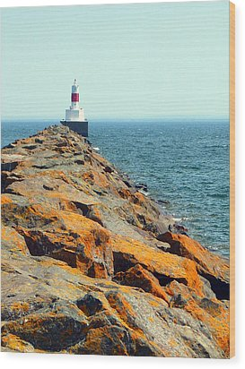 Presque Isle Lighthouse In Marquette Mi Wood Print