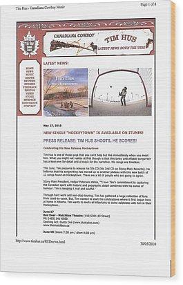 Press Release Carole Spandau Paints Cover Art For Hockeytown Cd By Tim Hus Wood Print by Carole Spandau