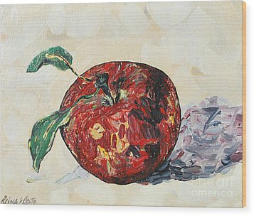 Wood Print featuring the painting Pretty Apple by Reina Resto
