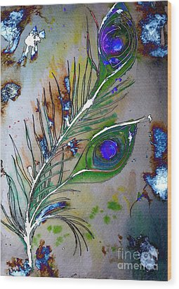 Wood Print featuring the painting Pretty As A Peacock by Denise Tomasura