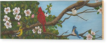 Pretty Birds Wood Print