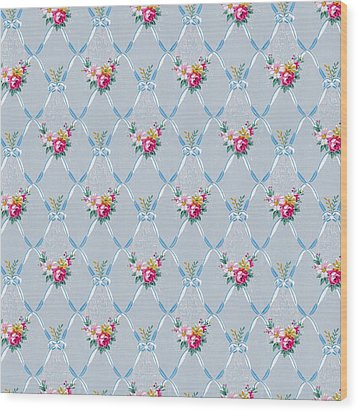 Wood Print featuring the digital art Pretty Blue Ribbons Rose Floral Vintage Wallpaper by Tracie Kaska