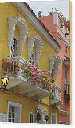 Pretty Dwellings In Old-town Cartagena Wood Print