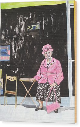 Wood Print featuring the painting Pretty In Pink by Esther Newman-Cohen