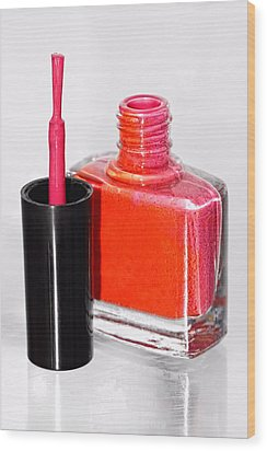 Pretty In Pink Finger Nail Polish Wood Print by Tracie Kaska
