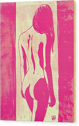 Wood Print featuring the drawing Pretty In Pink by Giuseppe Cristiano
