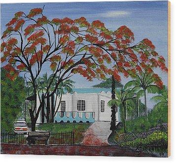 Pretty In Red Wood Print by Gloria E Barreto-Rodriguez