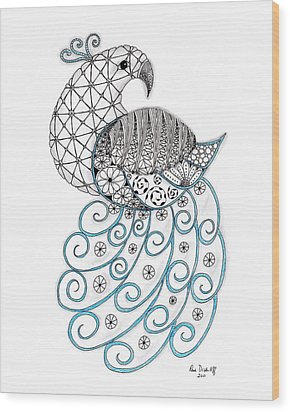 Pretty Peacock Wood Print by Paula Dickerhoff