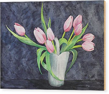 Pretty Pink Tulips Wood Print by Dee Carpenter
