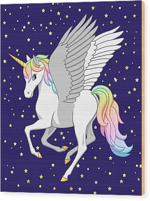 Pretty Rainbow Unicorn Flying Horse Wood Print