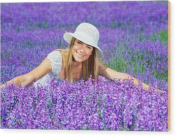 Pretty Woman On Lavender Field Wood Print by Anna Om