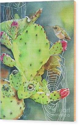 Prickly Pair Wood Print by Patricia Pushaw