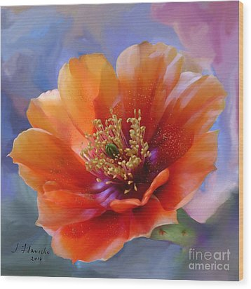 Prickly Pear Bloom Wood Print by Judy Filarecki