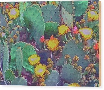 Prickly Pear Cactus 2 Wood Print by Methune Hively