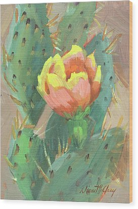Wood Print featuring the painting Prickly Pear Cactus Bloom by Diane McClary