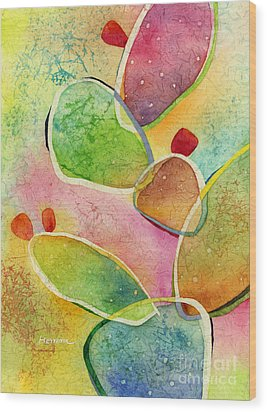Wood Print featuring the painting Prickly Pizazz 1 by Hailey E Herrera