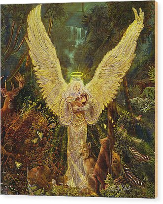 Priestess Of The Woods-angel Tarot Card Wood Print