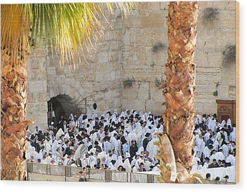 Prayer Of Shaharit At The Kotel During Sukkot Festival Wood Print by Yoel Koskas