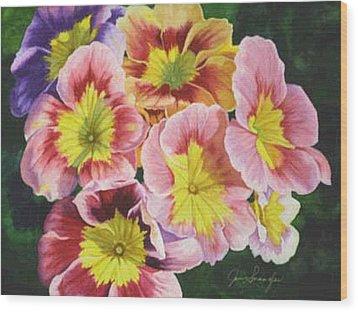 Primroses Wood Print by Jan  Spangler
