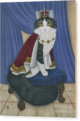 Wood Print featuring the painting Prince Anakin The Two Legged Cat - Regal Royal Cat by Carrie Hawks