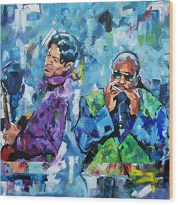 Wood Print featuring the painting Prince And Stevie by Richard Day