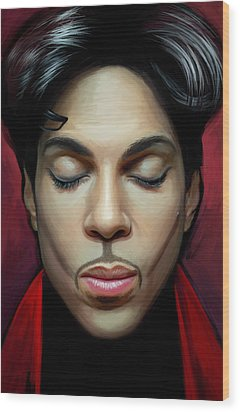 Wood Print featuring the painting Prince Artwork 2 by Sheraz A