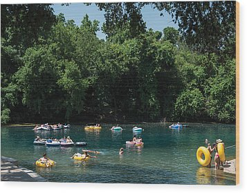 Prince Solms Park On The Comal River In New Braunfels Wood Print by Carol M Highsmith
