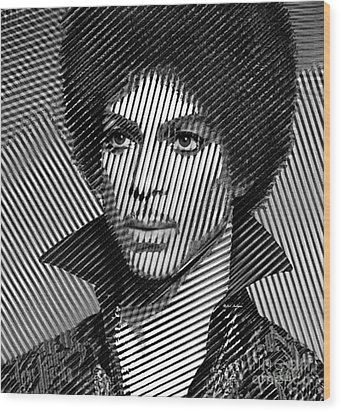 Prince - Tribute In Black And White Sketch Wood Print